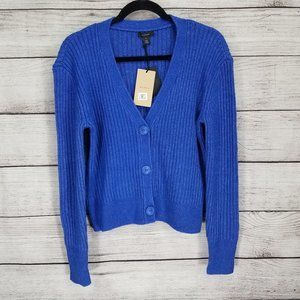 NWT Halogen M Button front Cardigan Sweater Blue